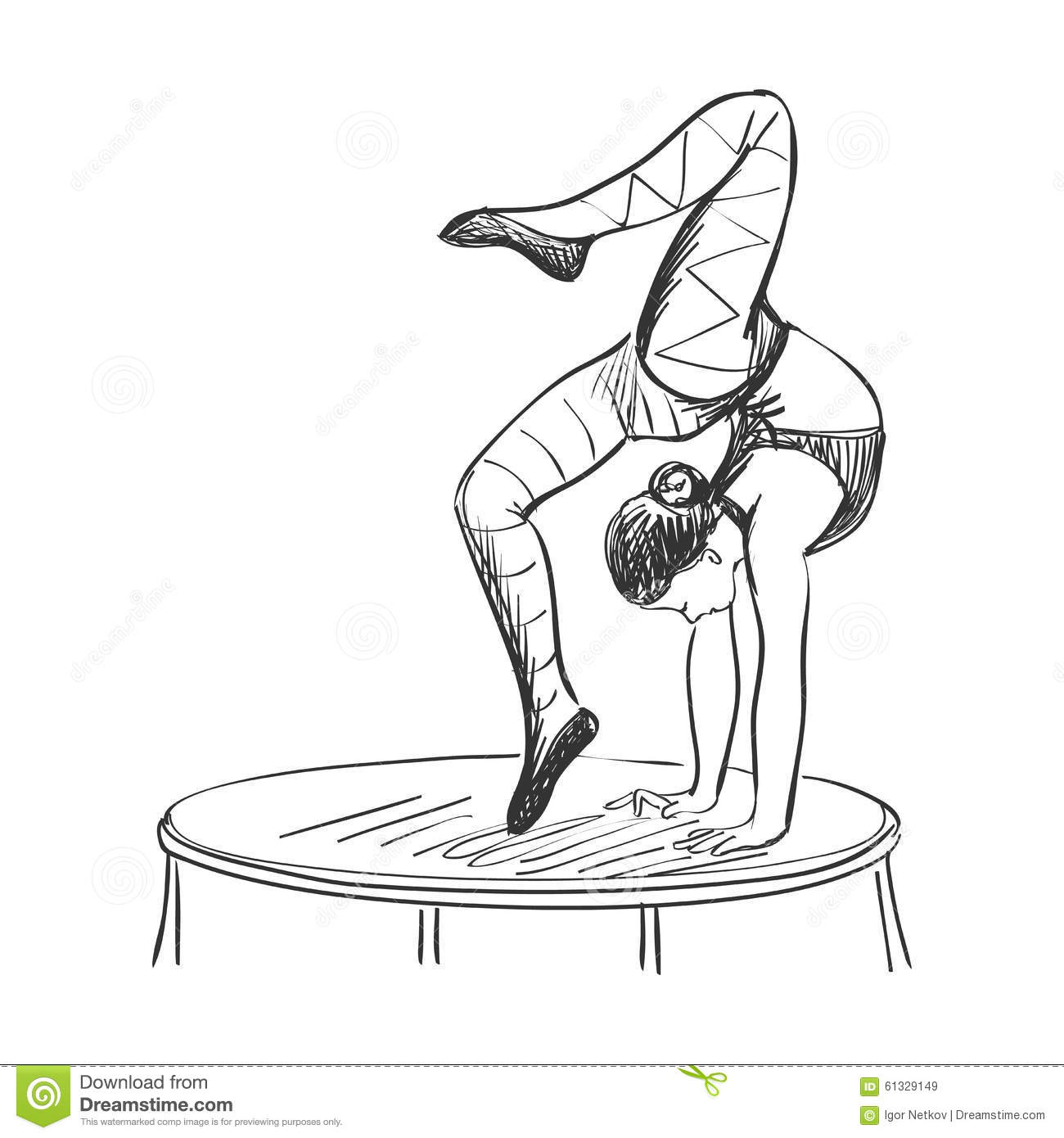 Doodle Circus Acrobat Stock Vector Illustration Of