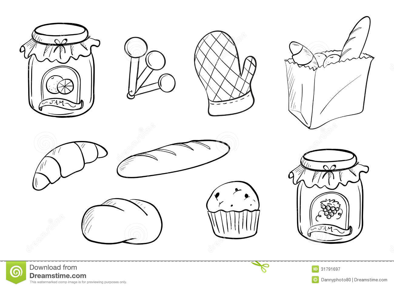 Doodle Design Of Bread And Jam Royalty Free Stock