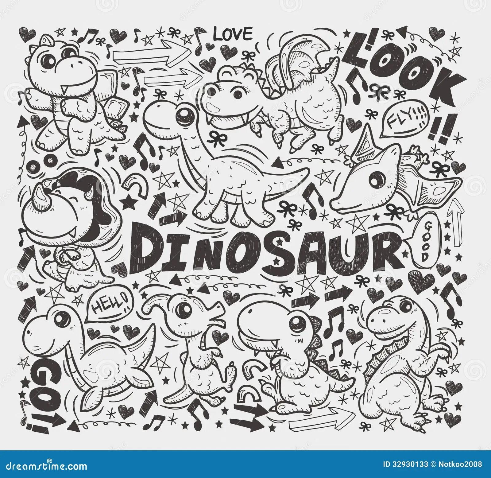 Doodle Dinosaur Element Stock Vector Illustration Of