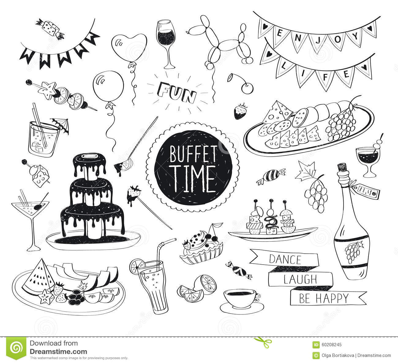 Doodle Drinks And Snacks Stock Vector Illustration Of