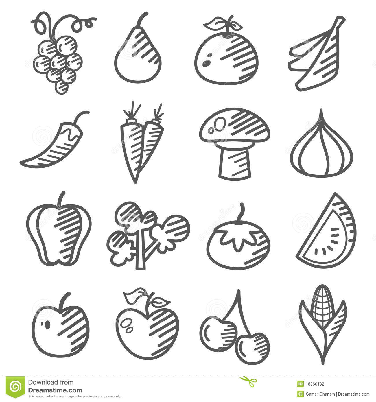 Doodle Fruits And Vegetable Stock Photography