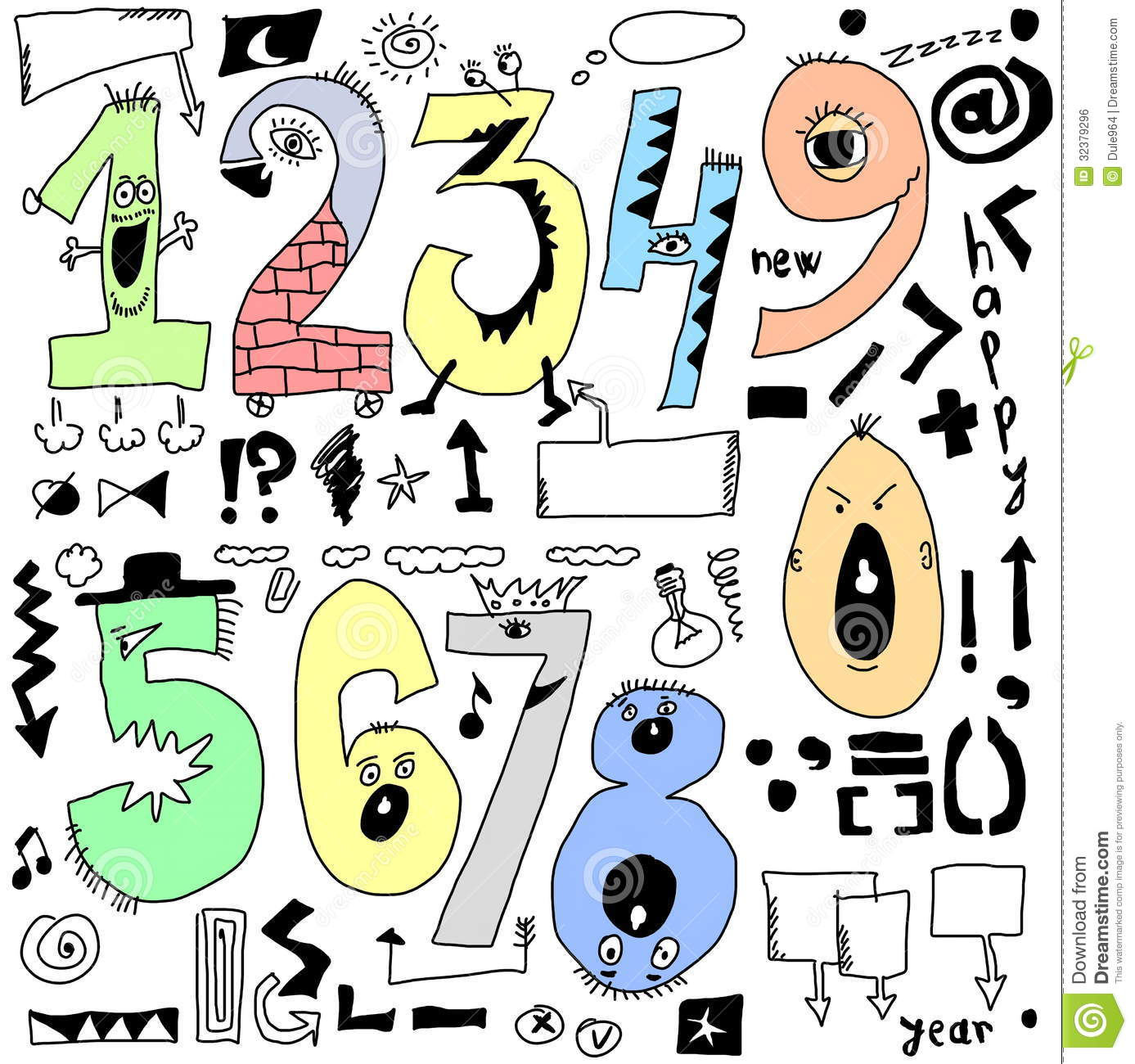 Doodle Funny Numbers Stock Illustration Illustration Of
