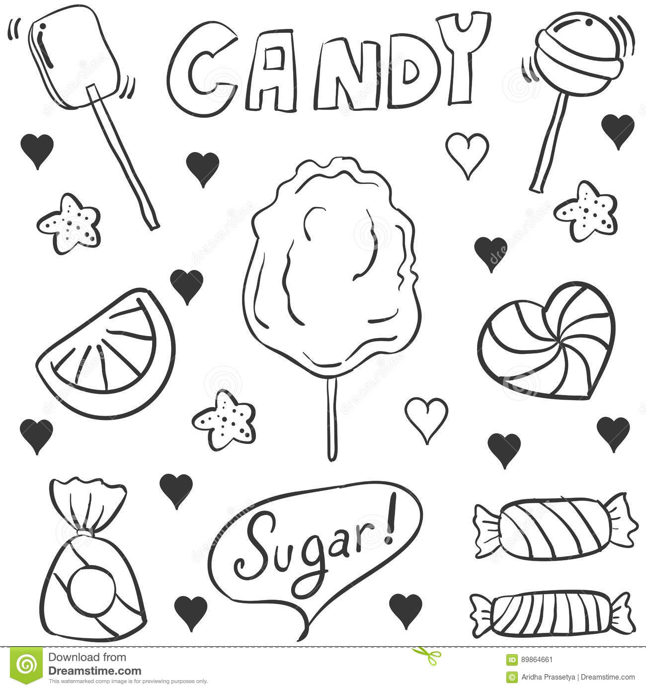 Doodle Of Hand Draw Candy Style Stock Vector