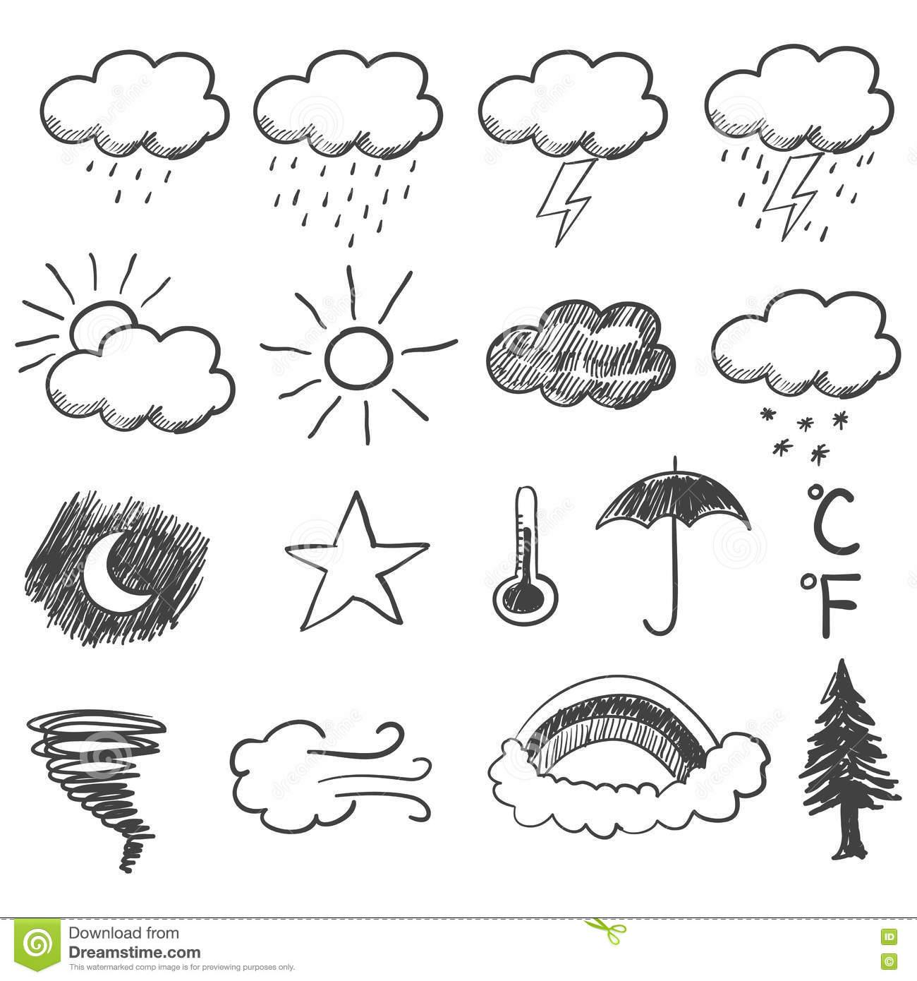 Doodle Illustration Of Weather Icons Stock Vector