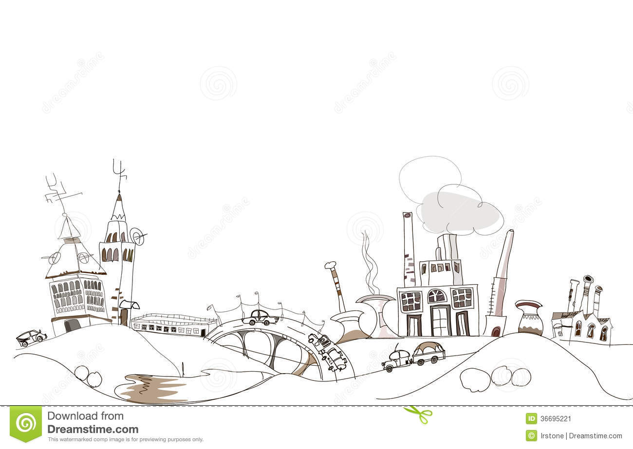 Doodle Industrial View Environmental Concept Stock Image