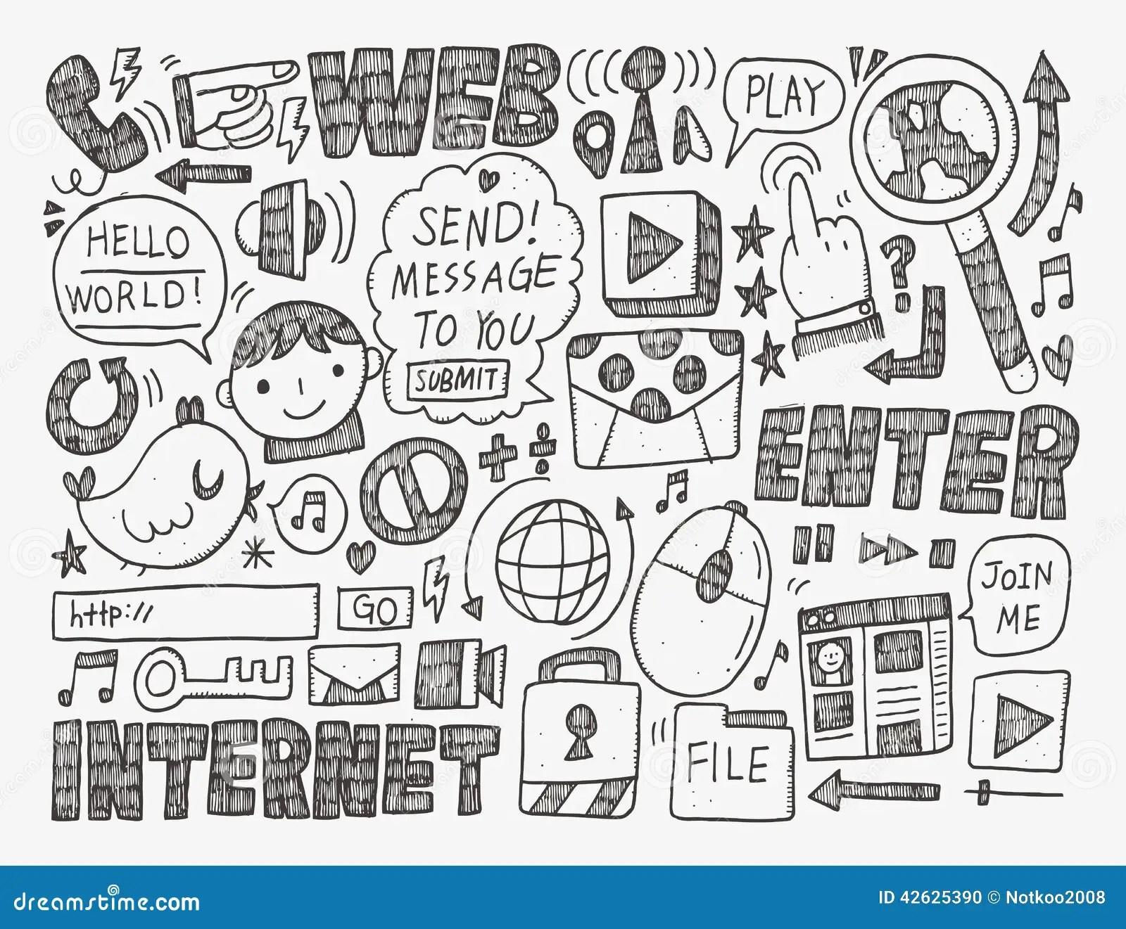 Doodle Internet Web Background Stock Vector