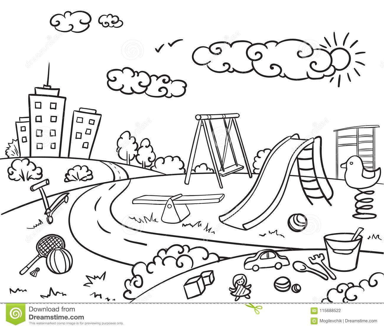 Doodle Monochrome Children Playground Concept Stock Vector