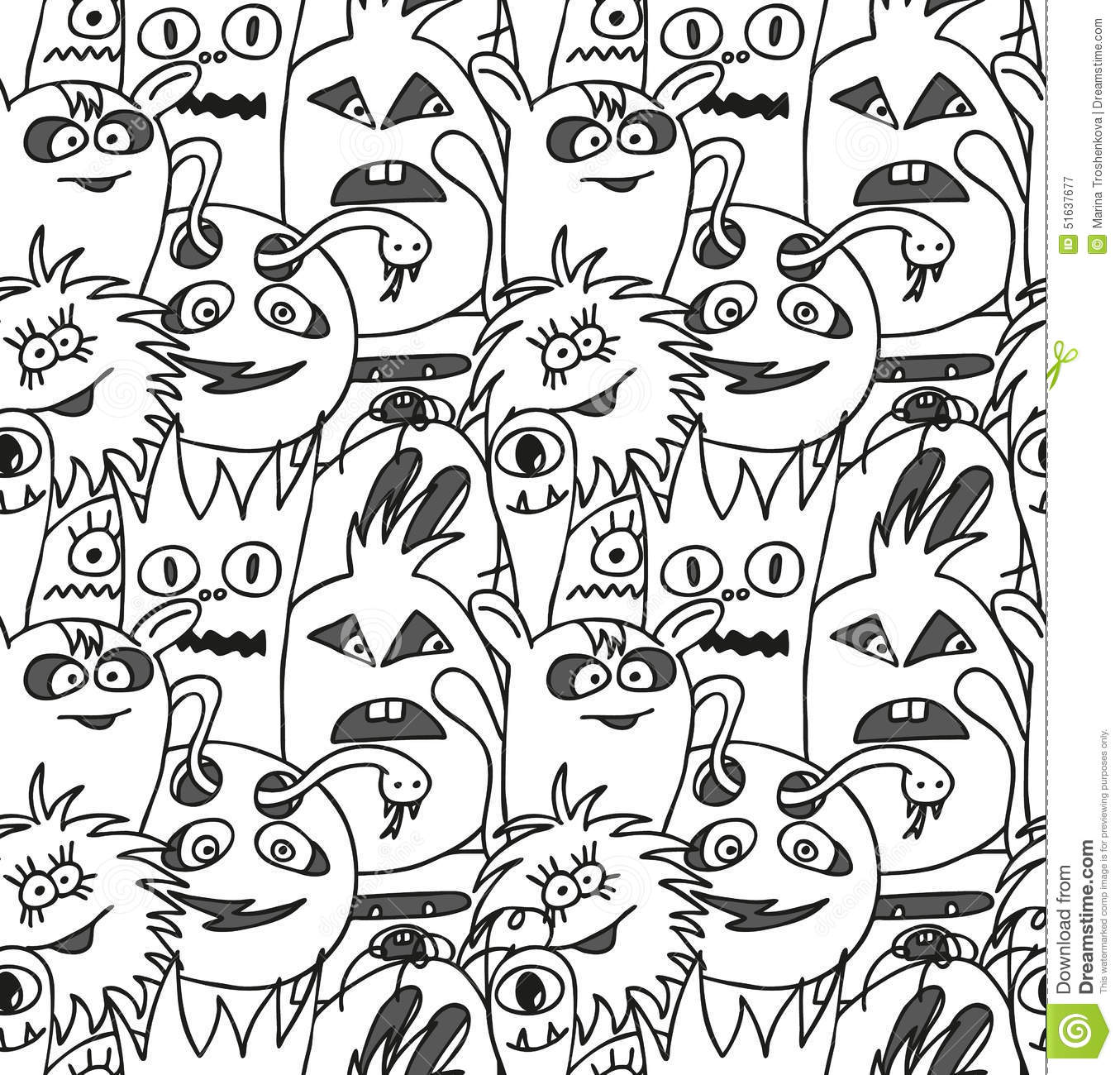 Doodle Monsters Seamless Pattern Stock Vector