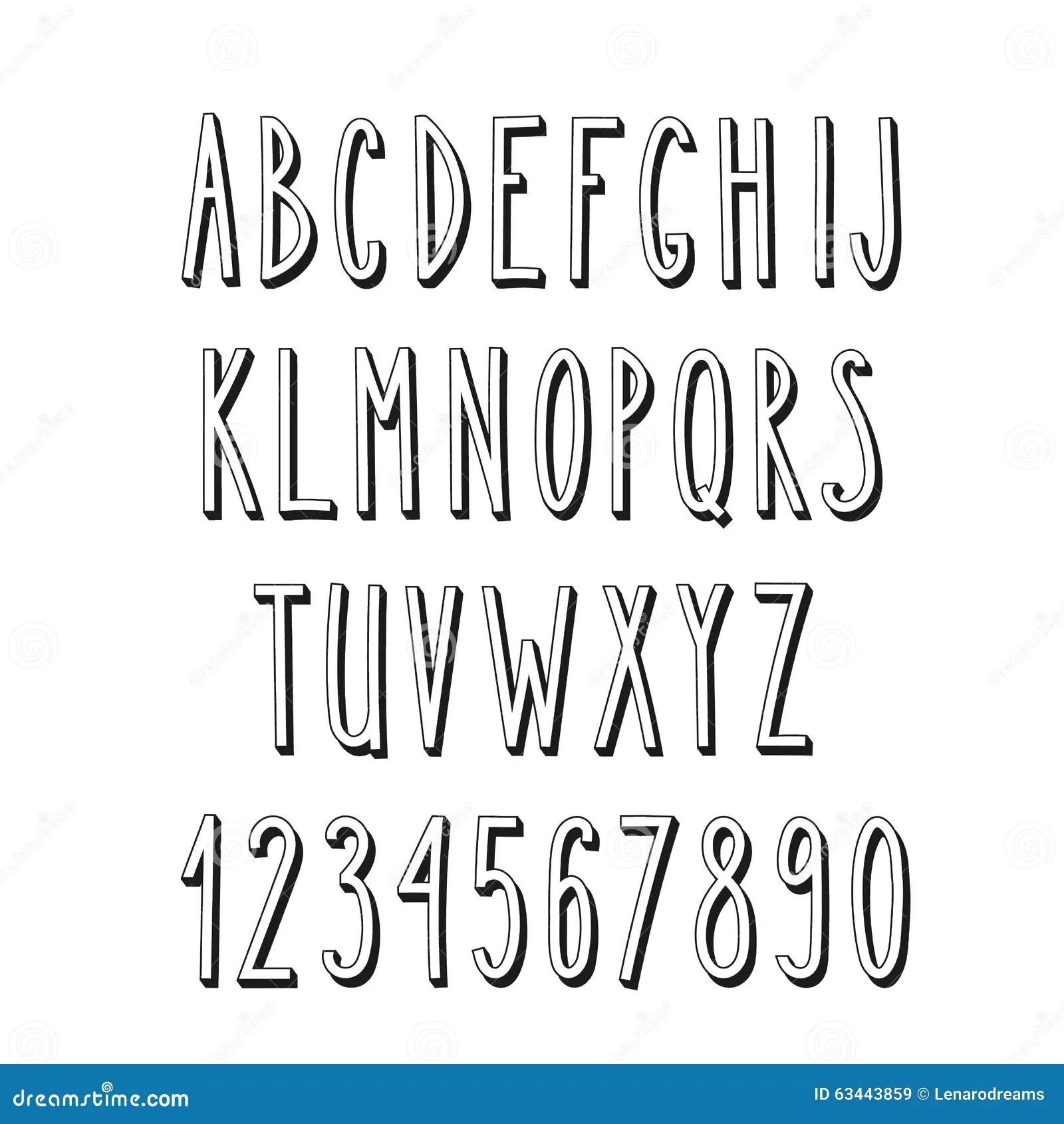 Doodle Narrow Alphabet Simple Letters Stock Illustration