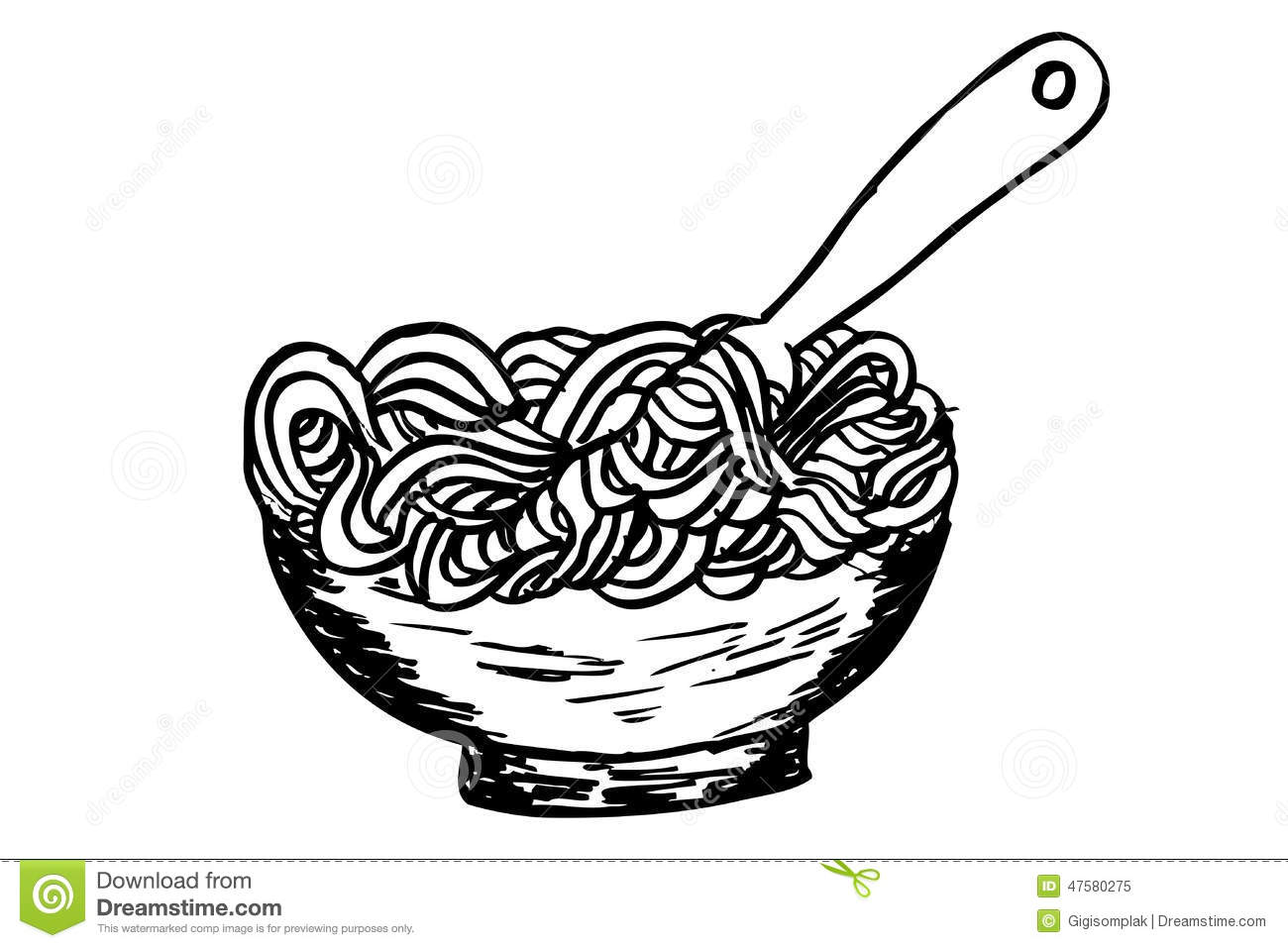 Doodle Noodle At Bowl And Fork Stock Vector