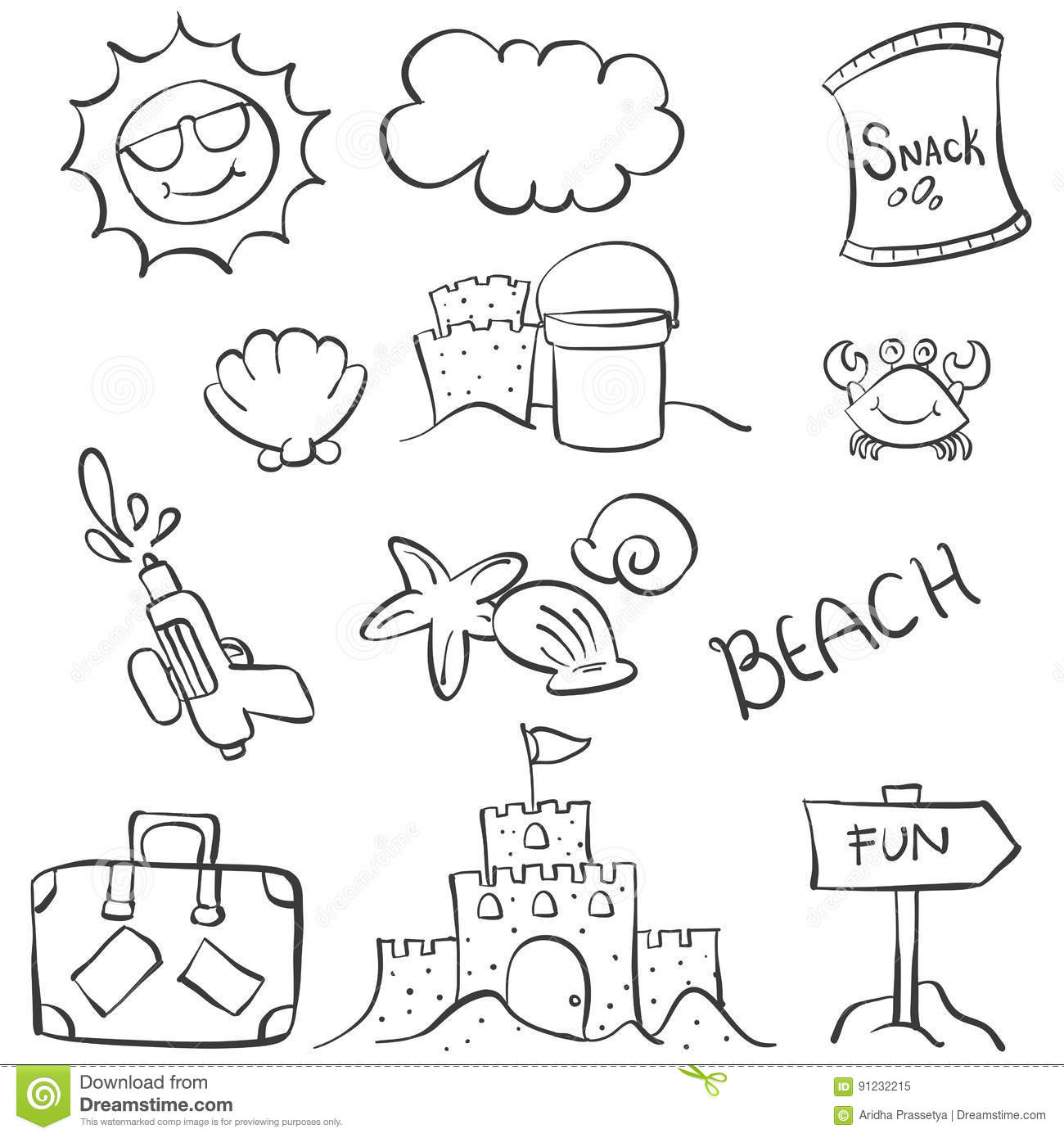 Doodle Object Summer Beach Hand Draw Stock Vector