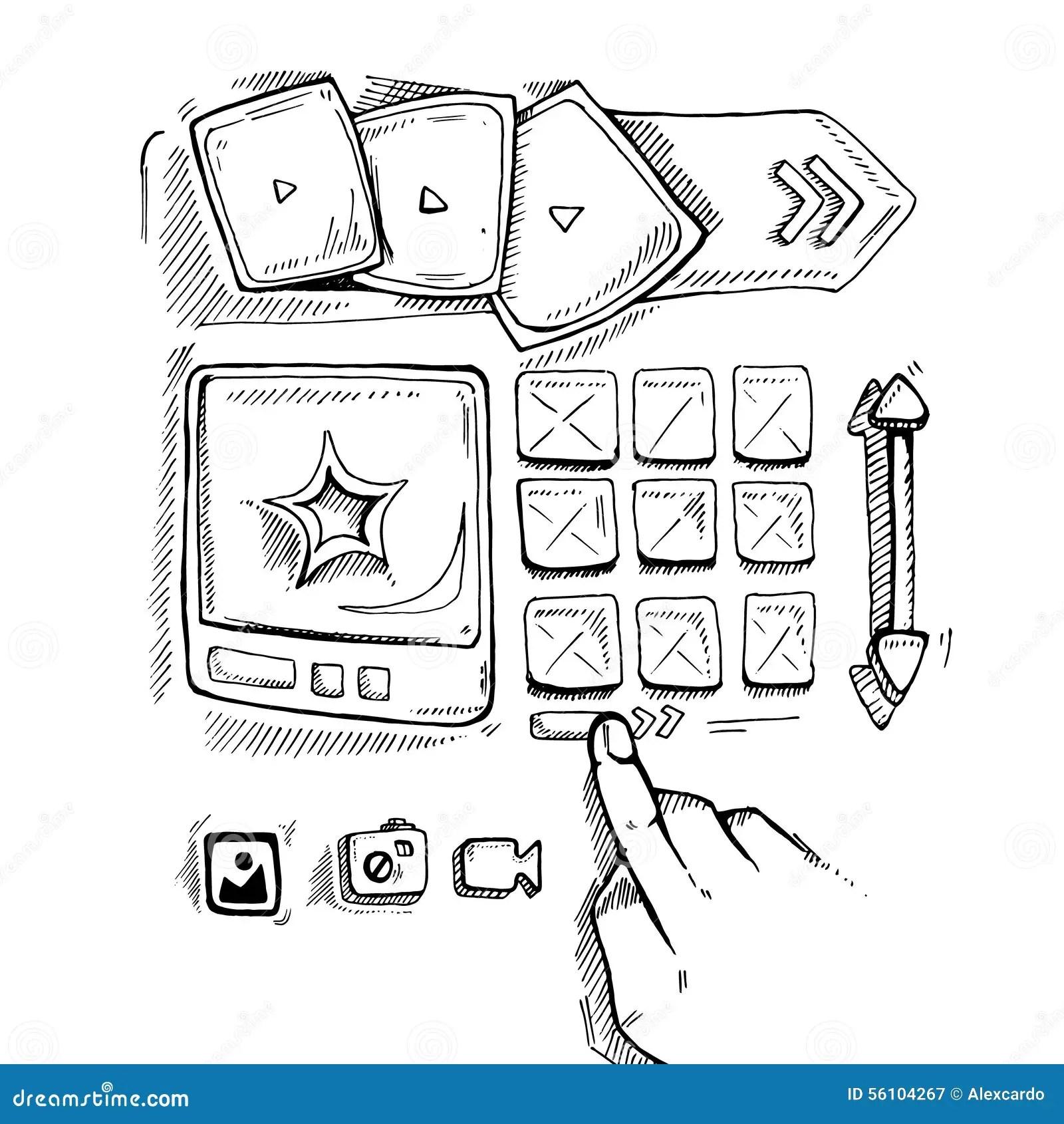 Doodle Portfolio Wireframe Stock Vector Image Of