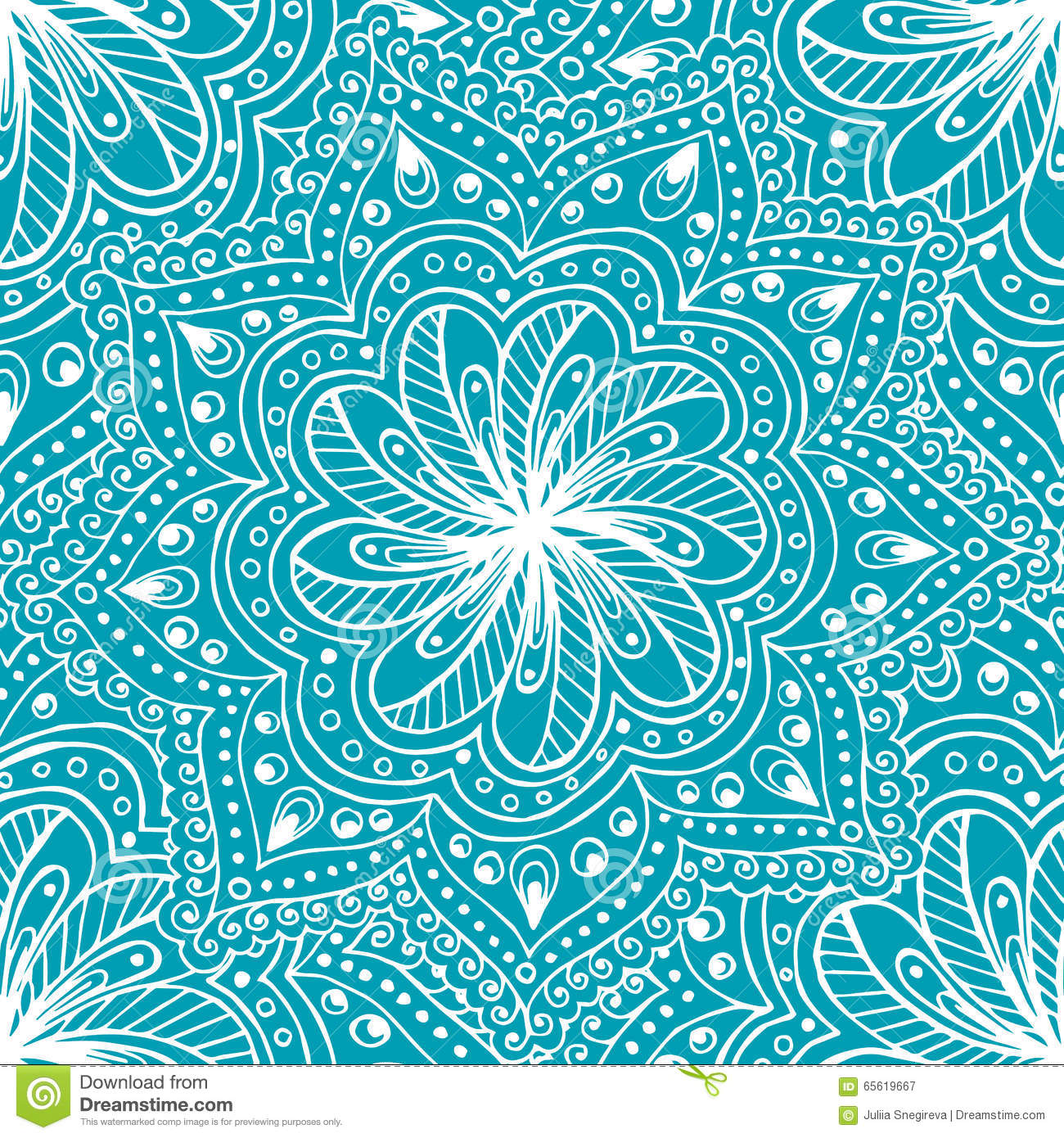 Doodle Seamless Background In Vector With Doodles Flowers