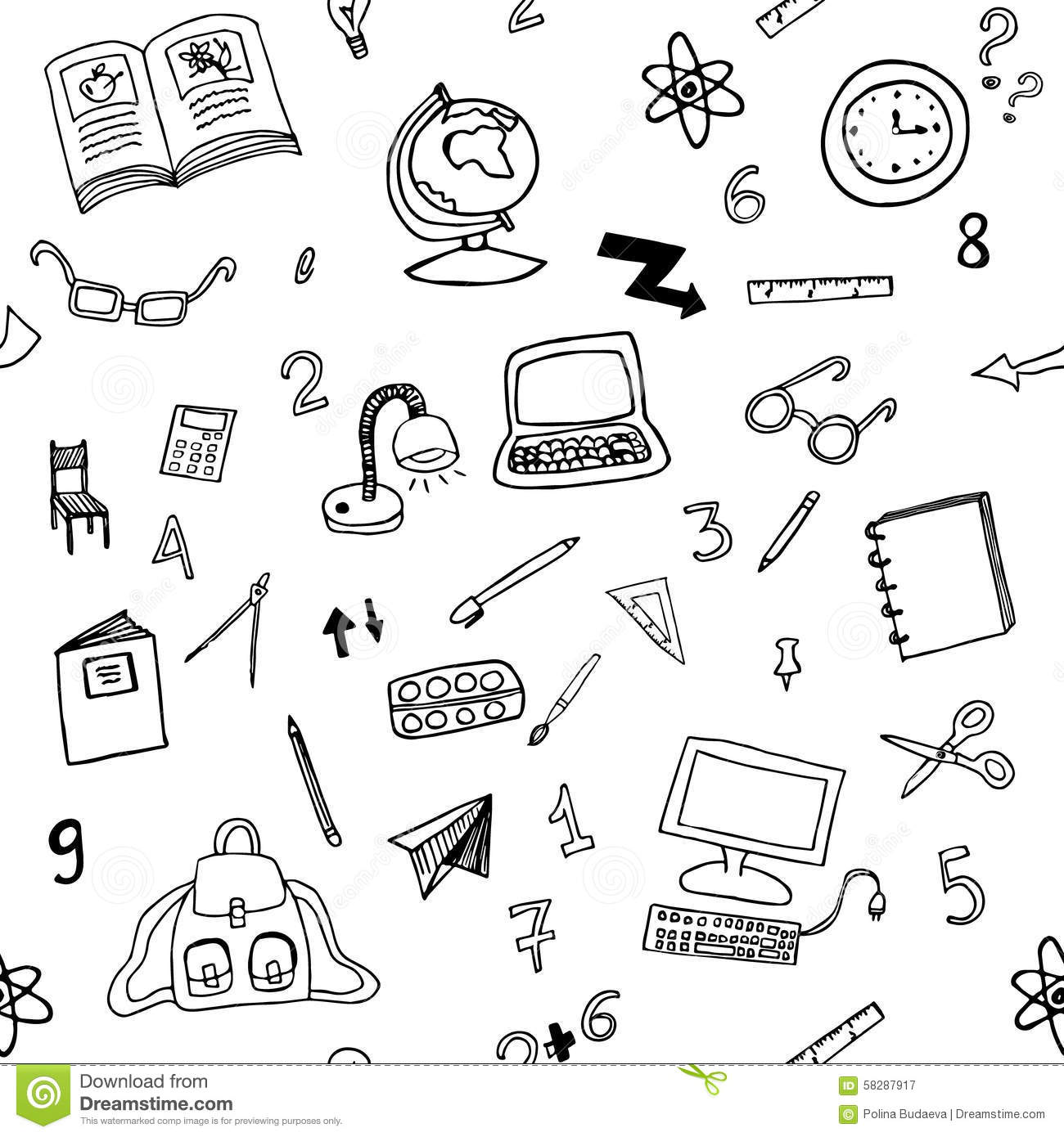 Doodle Seamless Pattern Of Classroom Objects Stock Vector