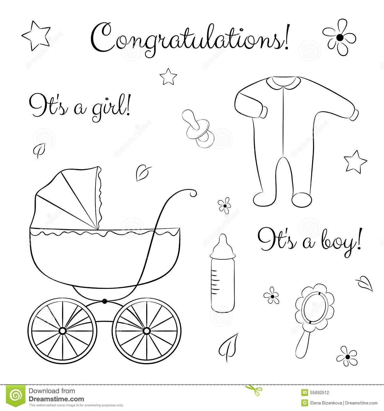 Doodle Set Of Items For Newborn Stock Vector