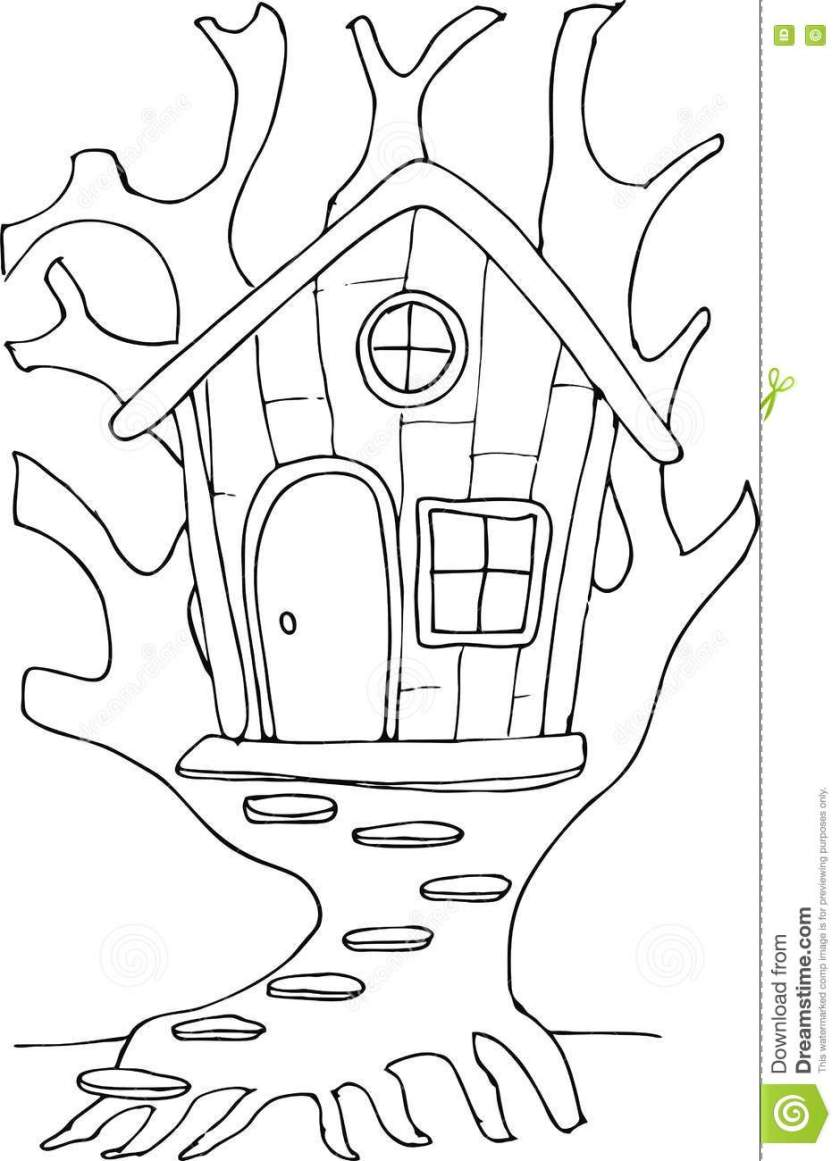 doodle style fairy tree house stock vector  illustration