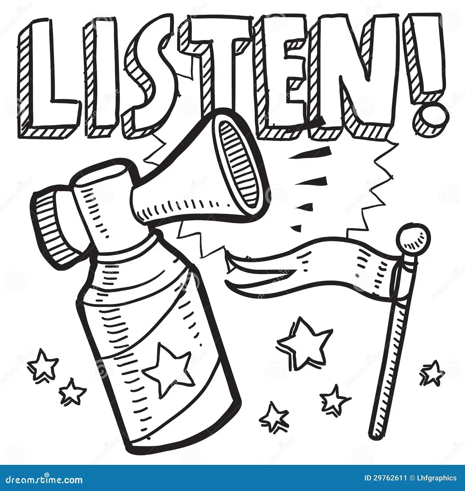Listen Announcement Sketch Stock Vector Illustration Of