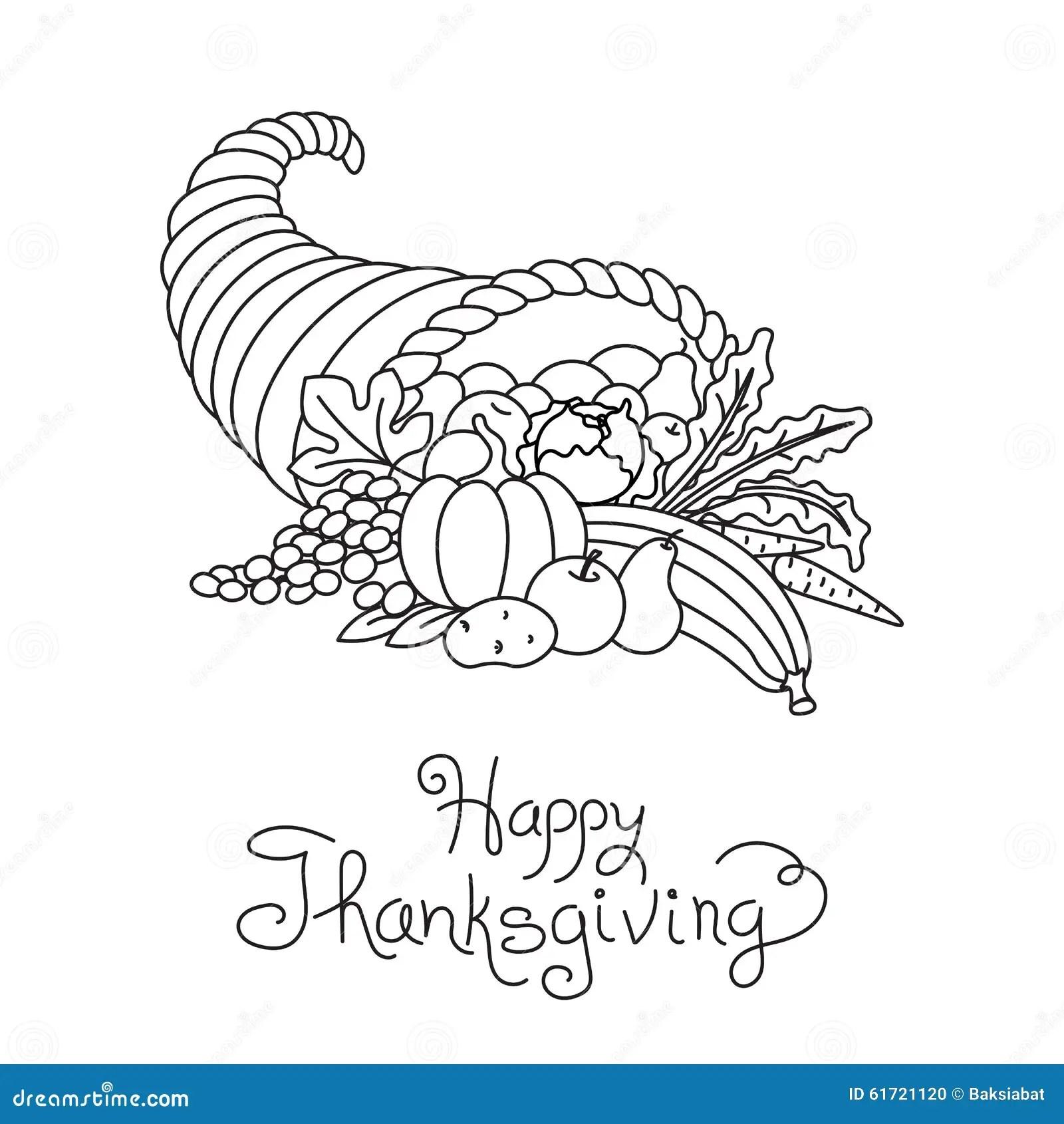 Doodle Thanksgiving Cornucopia Freehand Vector Stock