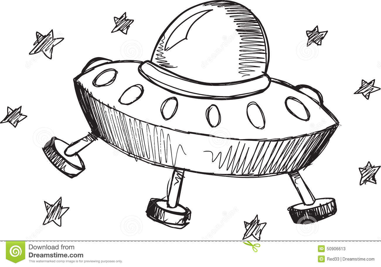 Doodle Ufo Vector Stock Vector Illustration Of Alien