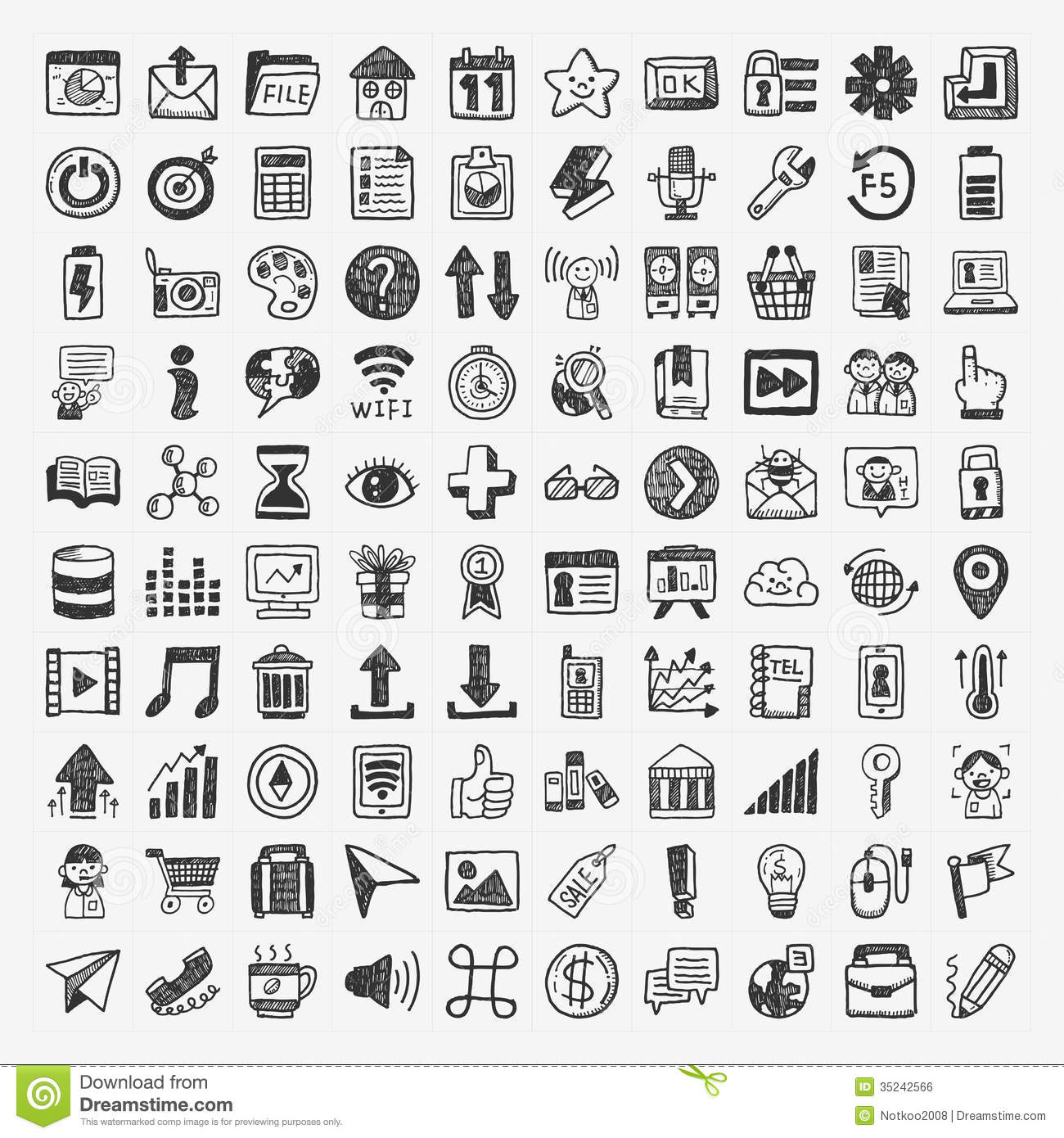 100 Doodle Web Icons Stock Vector Illustration Of Draft