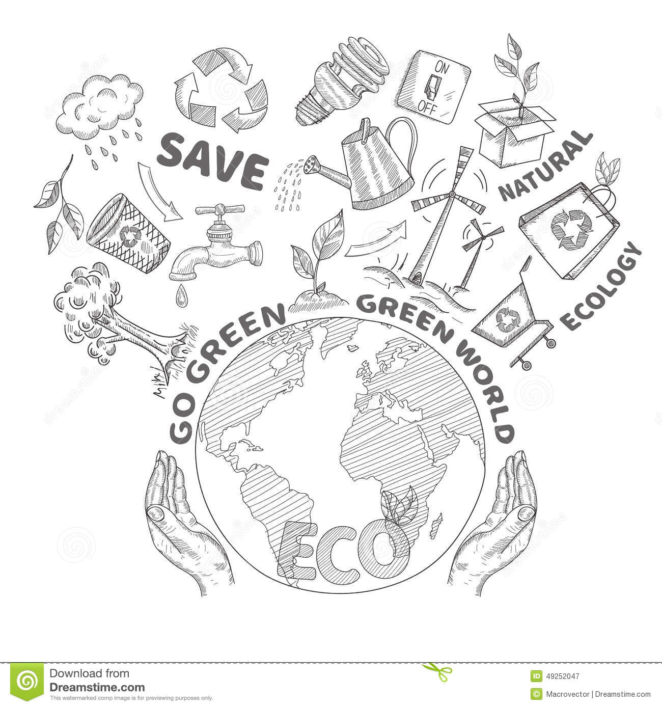 Doodles Ecology Concept Stock Vector Image Of Household