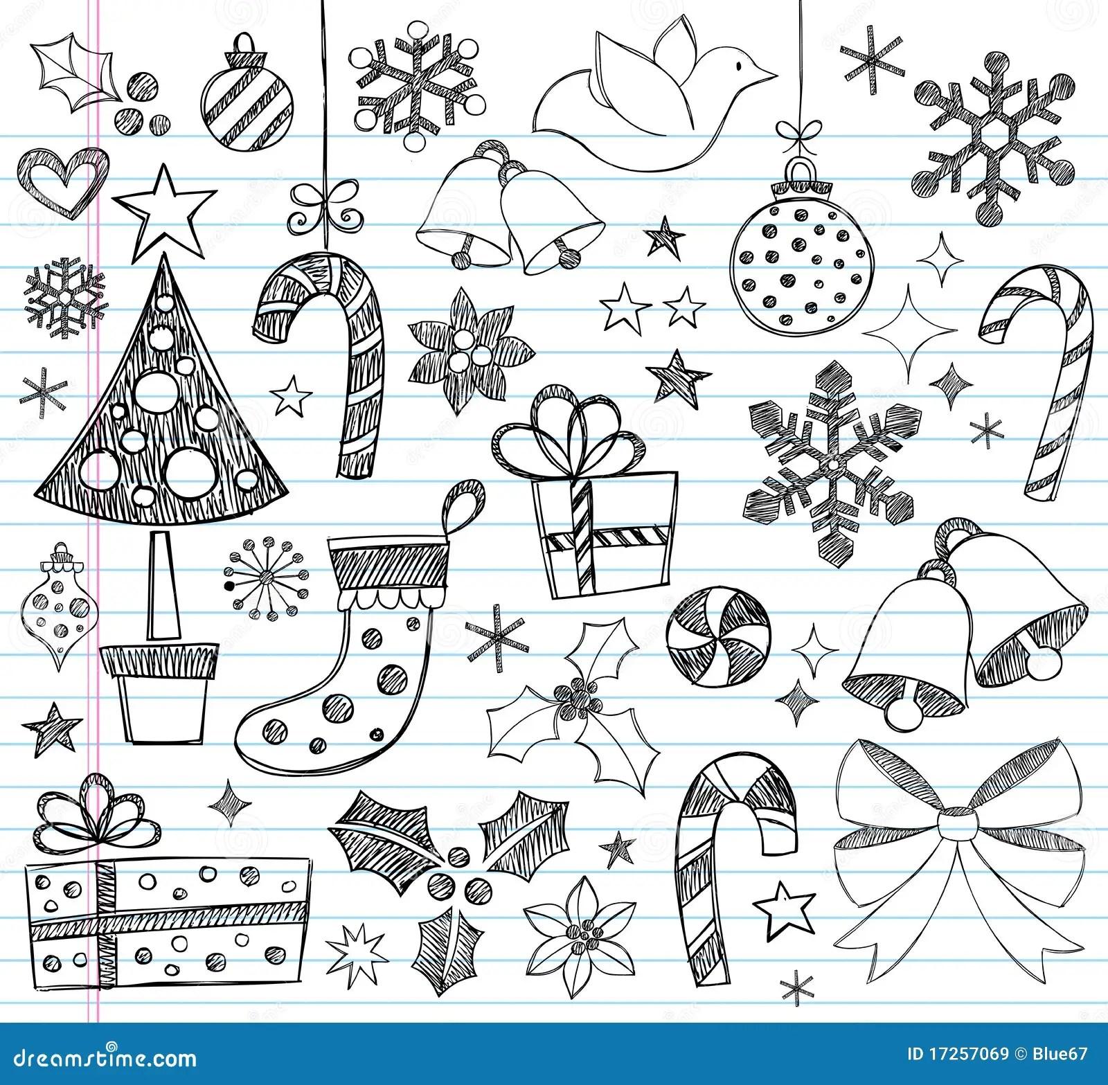 Doodles Incompletos A Mano De La Navidad Ilustracion Del