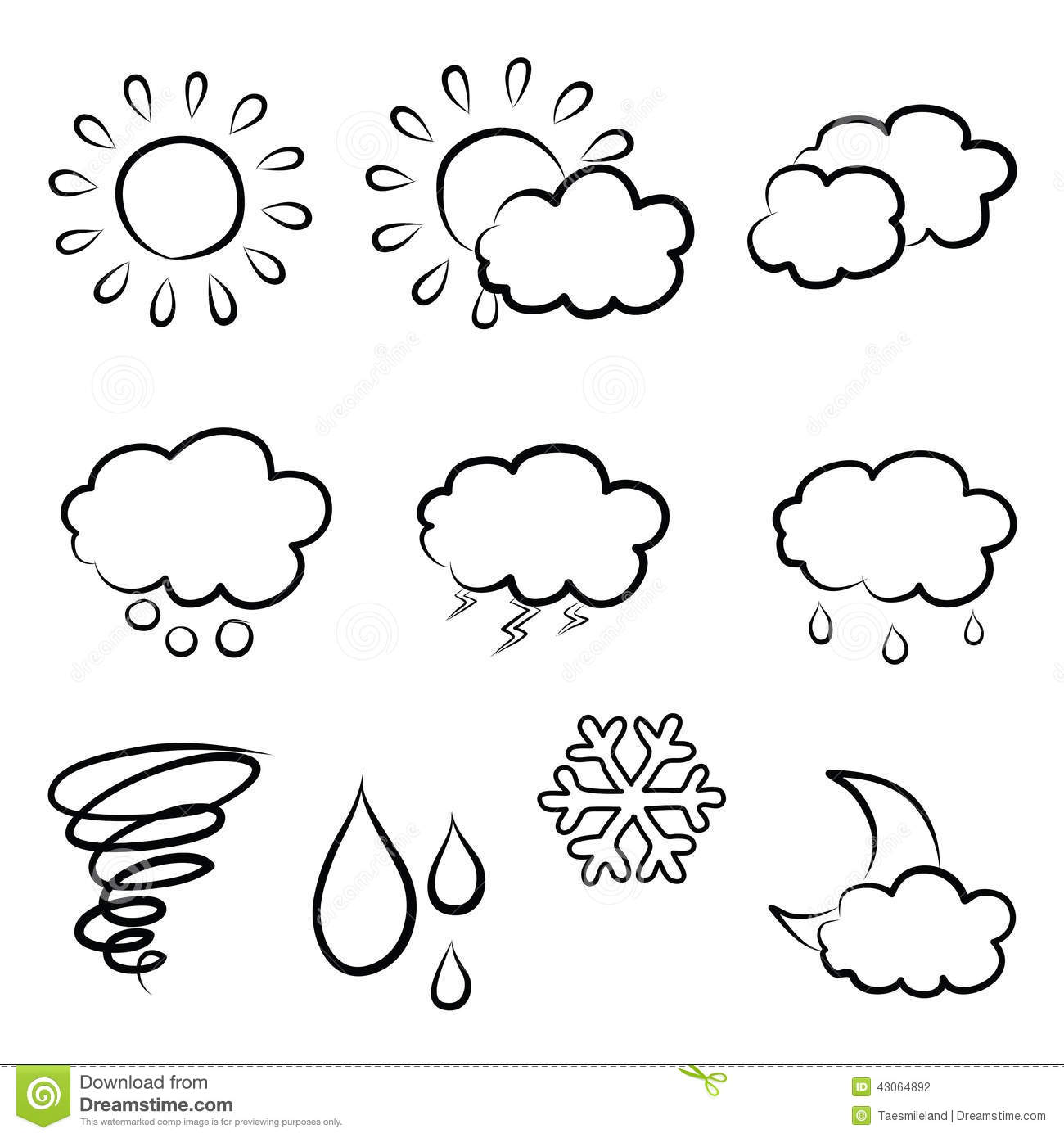 Doodles Weather Icon Set Stock Vector