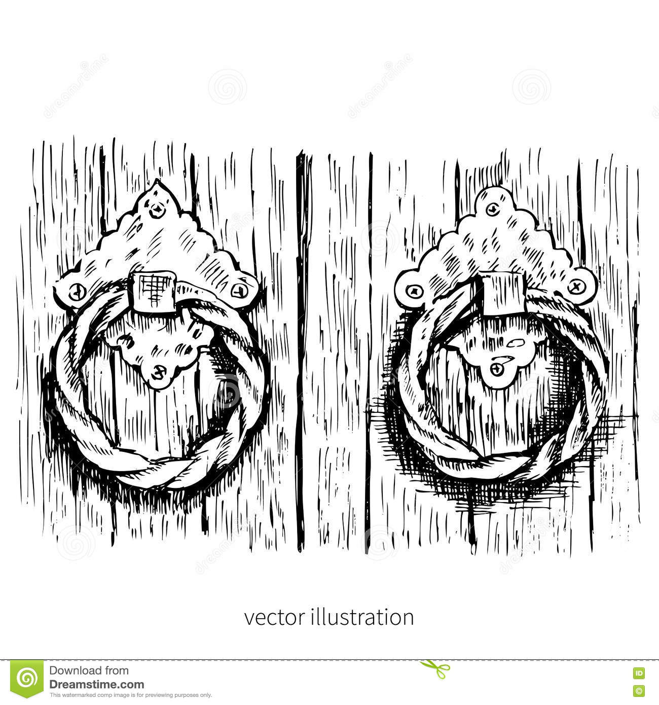 Doorknobs Isolated On White Background Hand Drawn Vector