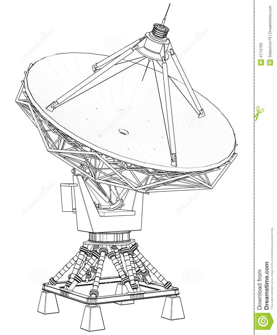 Doppler Radar Technical Draw Stock Illustration