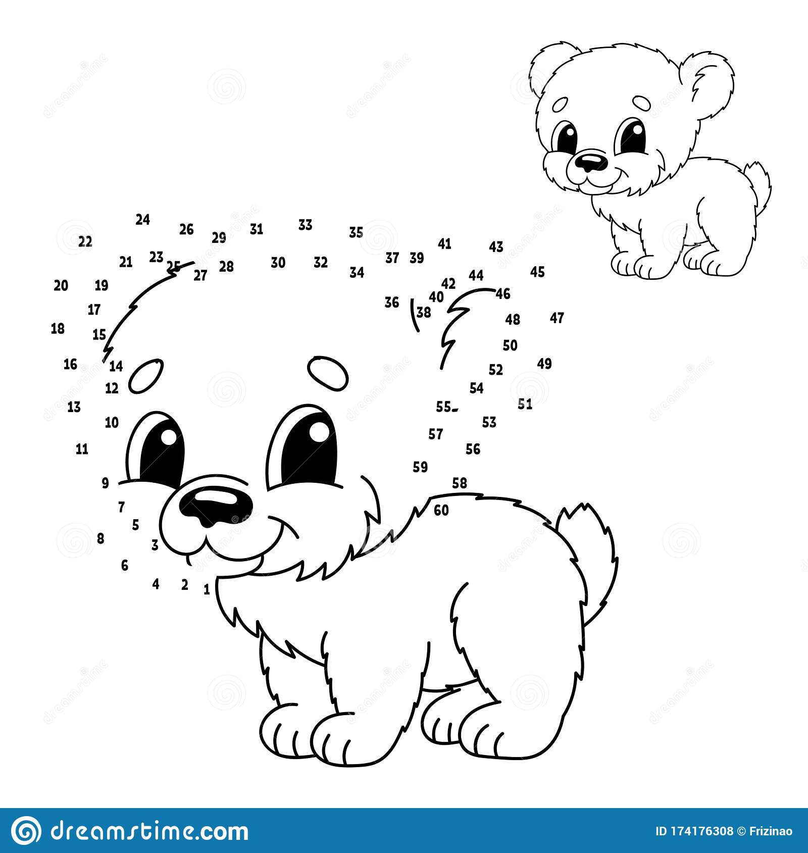 Dot To Dot Animal Bear Draw A Line Handwriting Practice