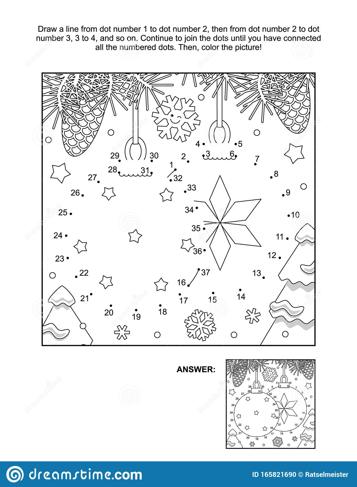 Dot To Dot And Coloring Page With Two Christmas Ball