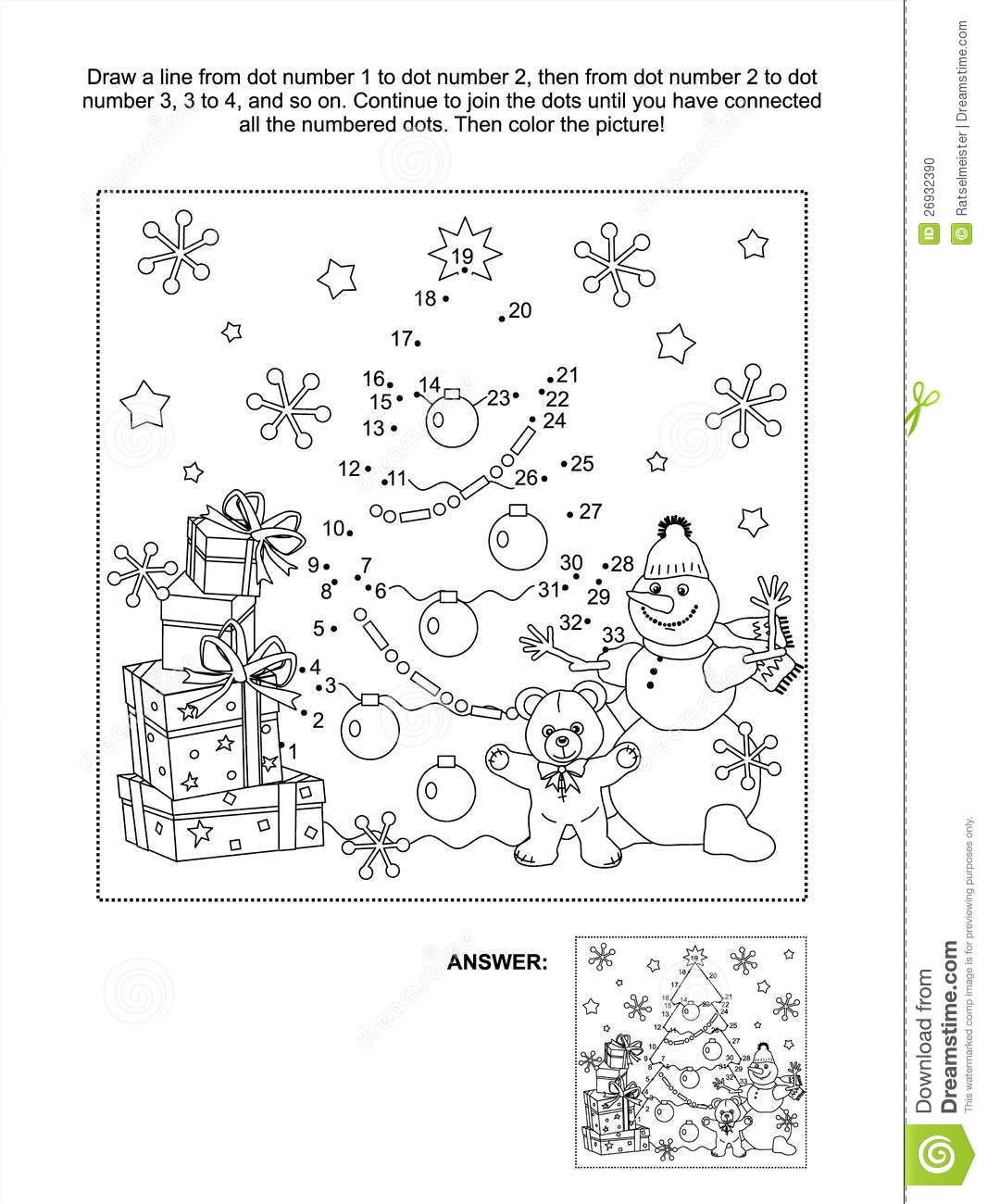 Dot To Dot Activity Page Stock Photo