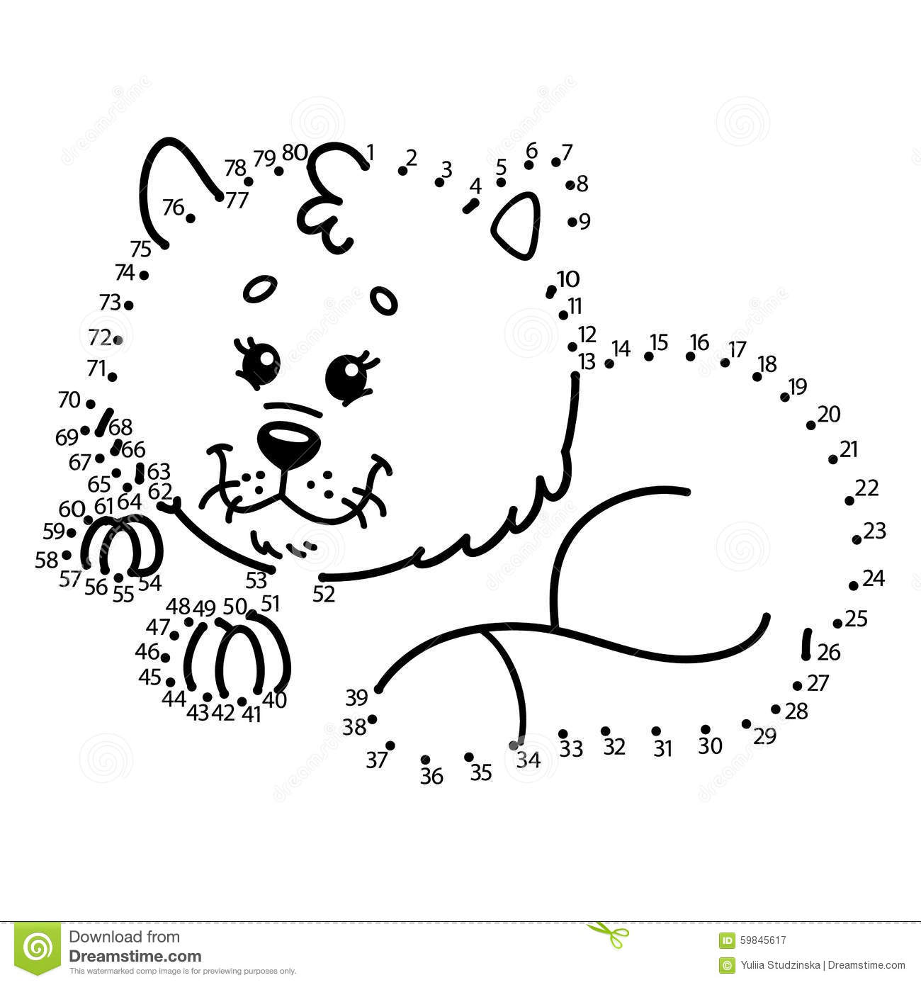 Dot To Dot Cat Game Stock Vector