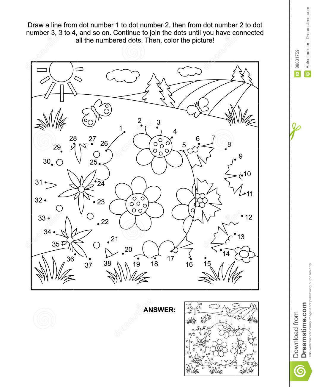 Dot To Dot And Coloring Page With 3 Easter Eggs Stock
