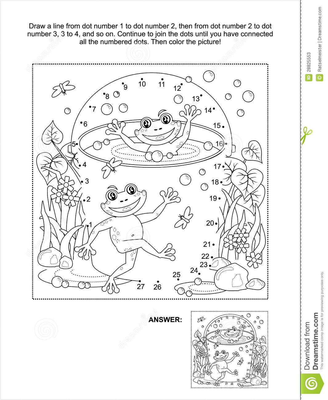 Dot To Dot And Coloring Page With Happy Frogs Stock Vector