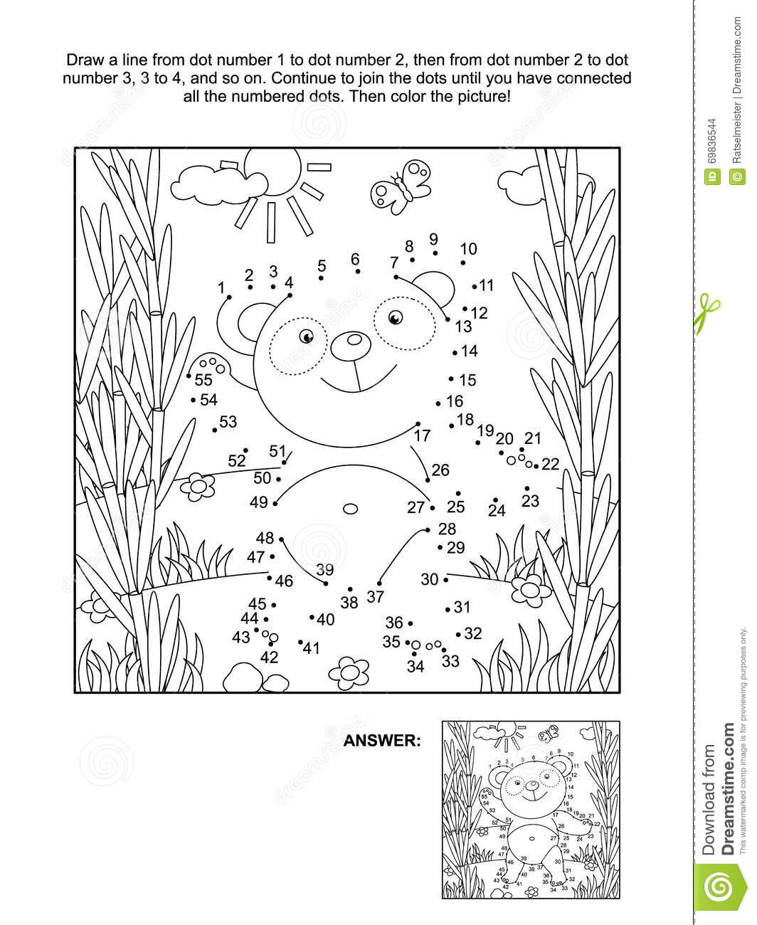 Dot To Dot And Coloring Page With Panda Bear Vector Illustration