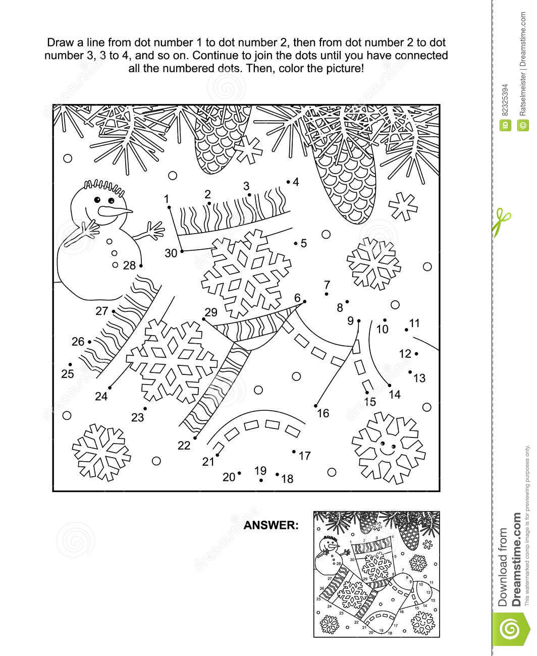 Dot To Dot And Coloring Page With Socks Stock Vector
