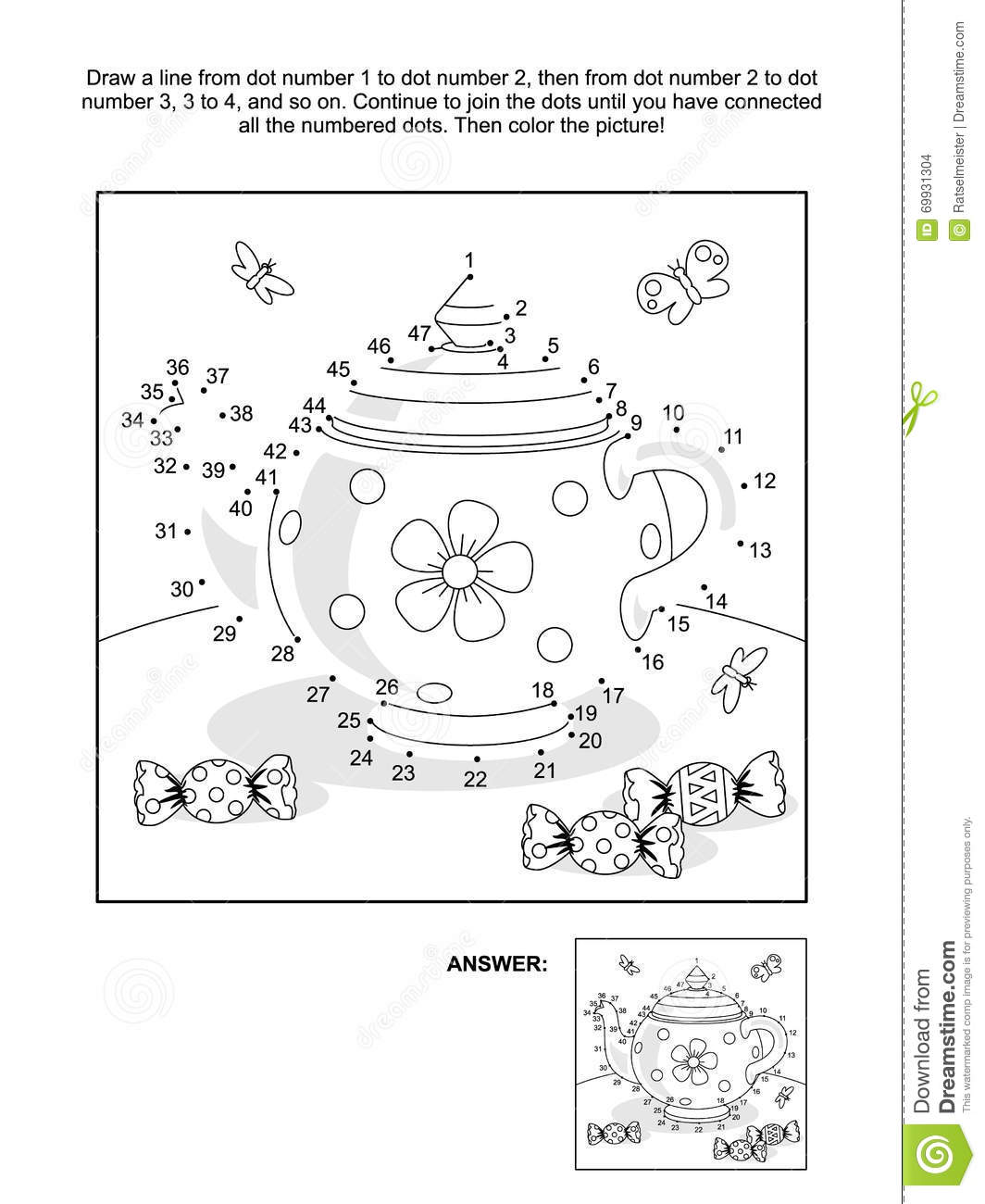 Dot To Dot And Coloring Page With Tea Pot And Candy Stock