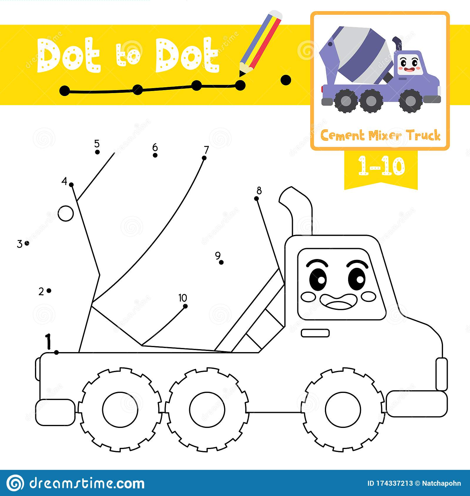 Dot To Dot Educational Game And Coloring Book Cement Mixer