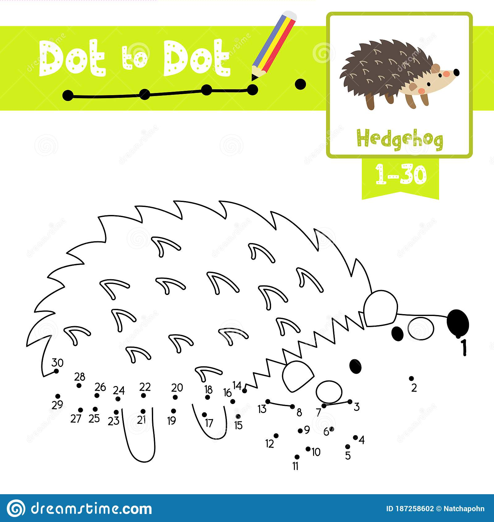 Dot To Dot Educational Game And Coloring Book Hedgehog