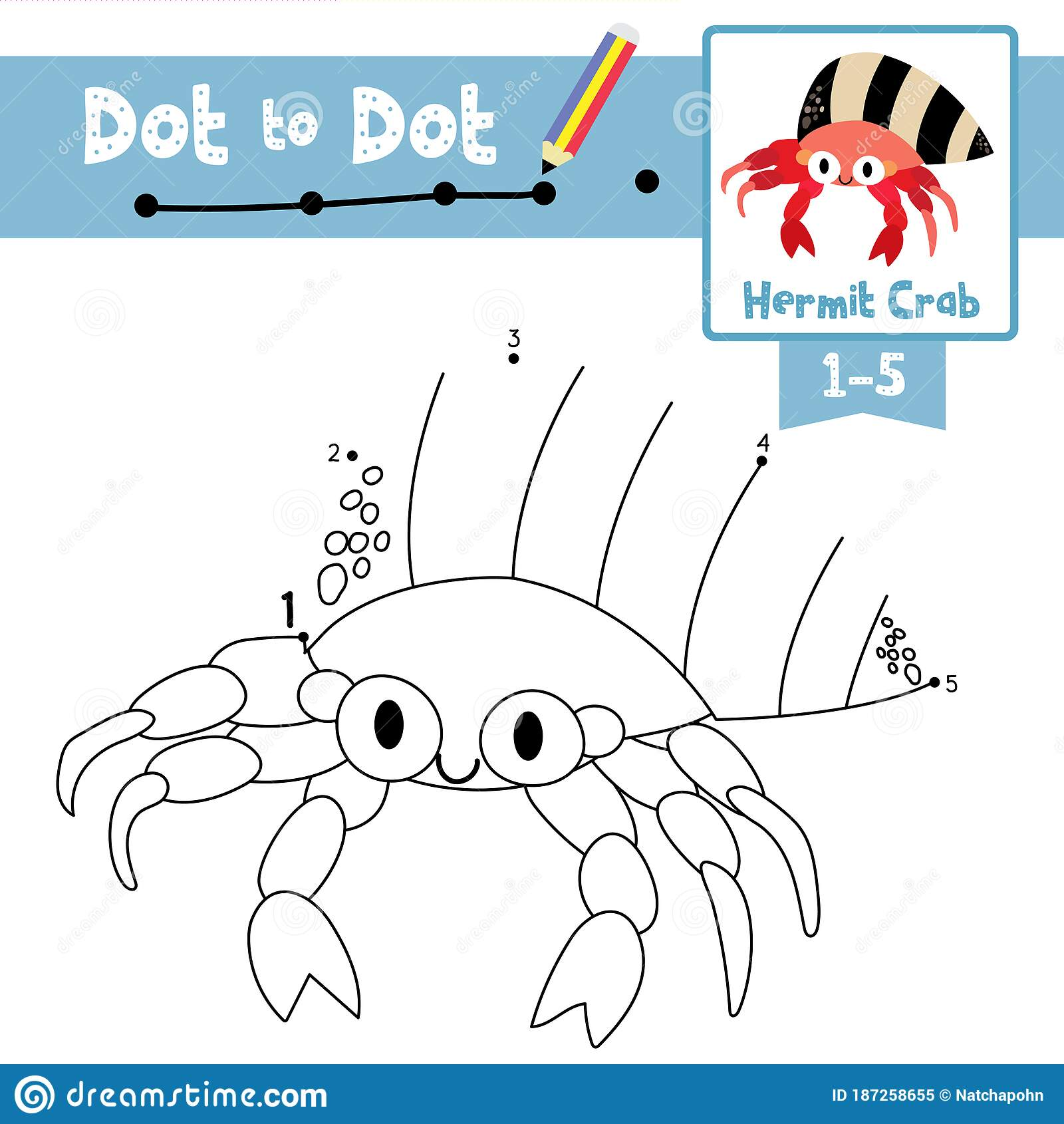 Dot To Dot Educational Game And Coloring Book Hermit Crab