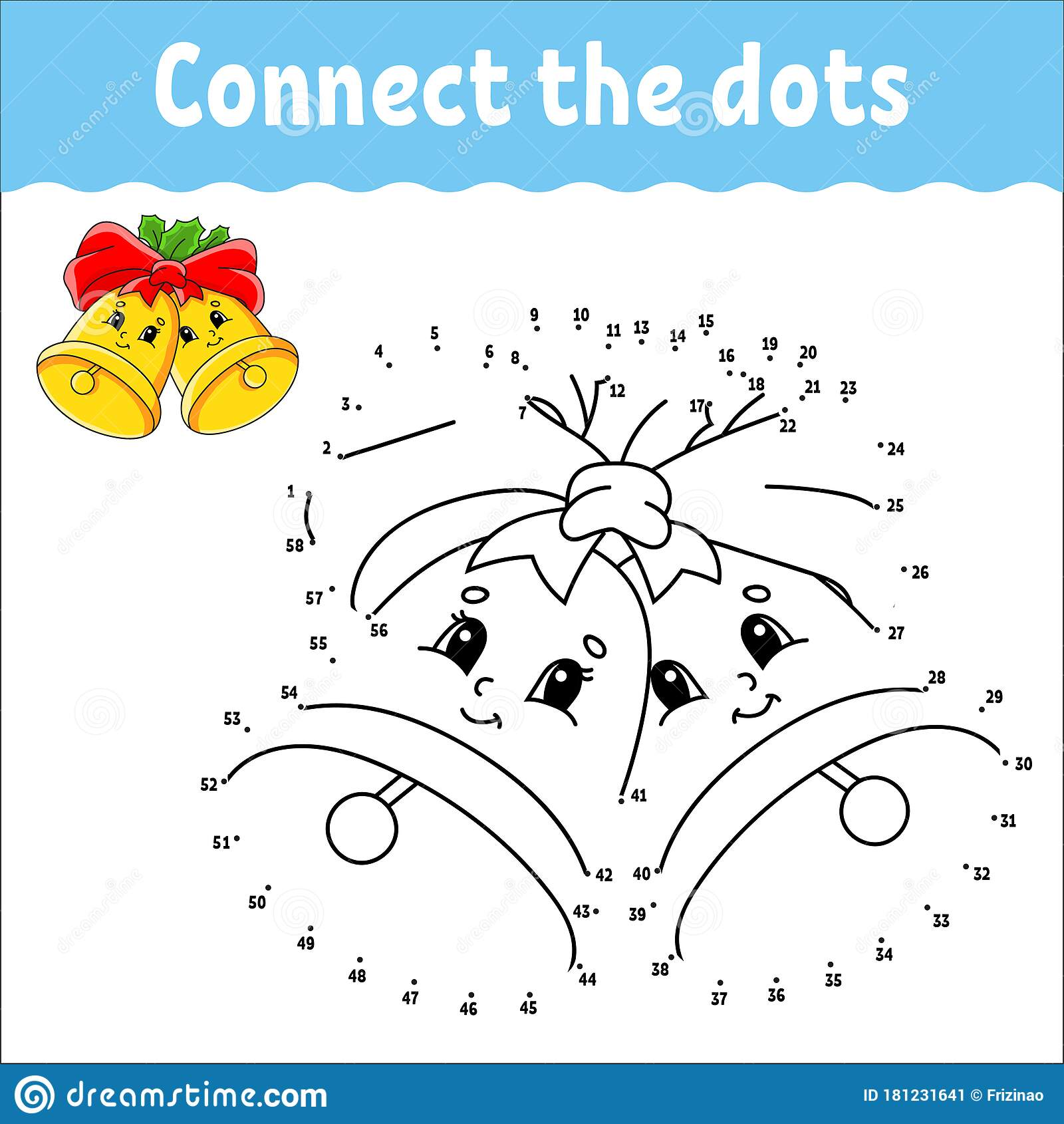 Dot To Dot Game Draw A Line Christmas Bells With Holly