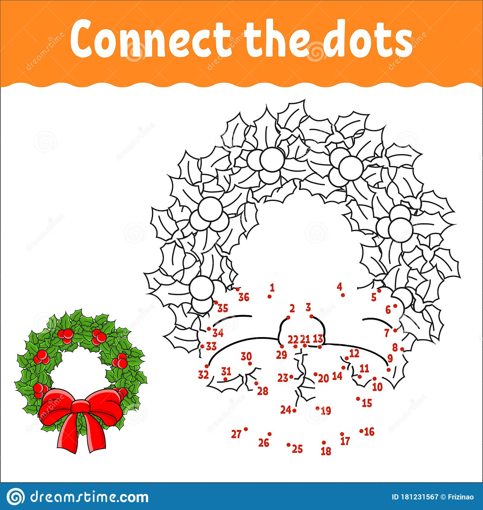 Dot To Dot Game Draw A Line Christmas Wreath Of Holly