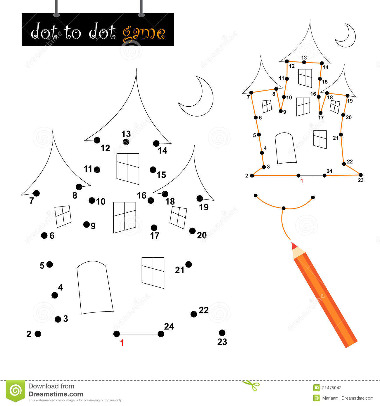 Dot To Dot Game Haunted House Stock Vector