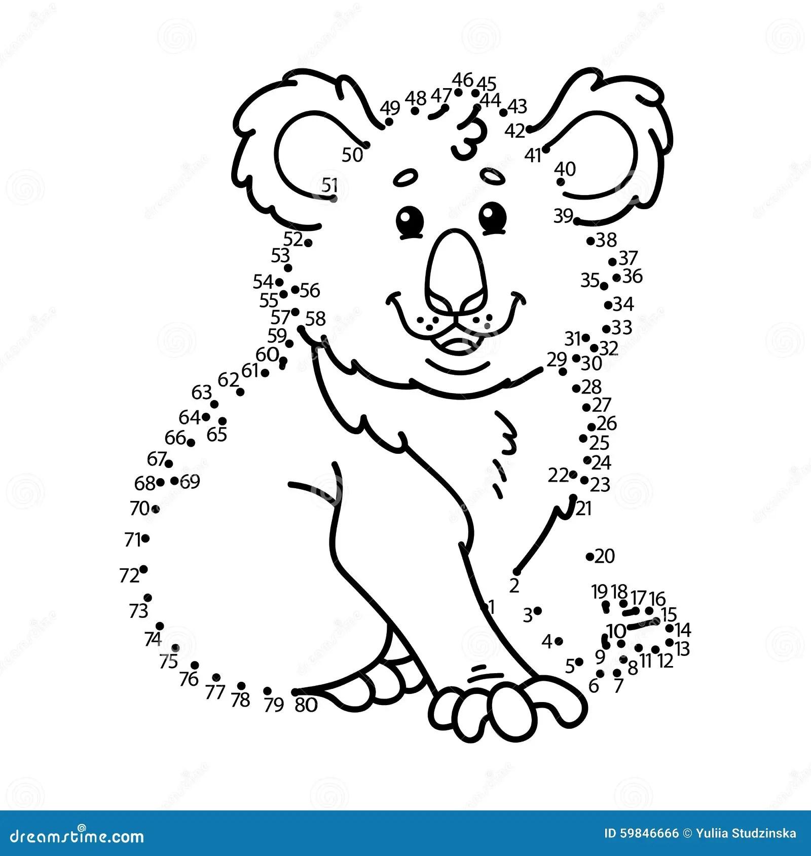 Dot To Dot Koala Game Stock Vector