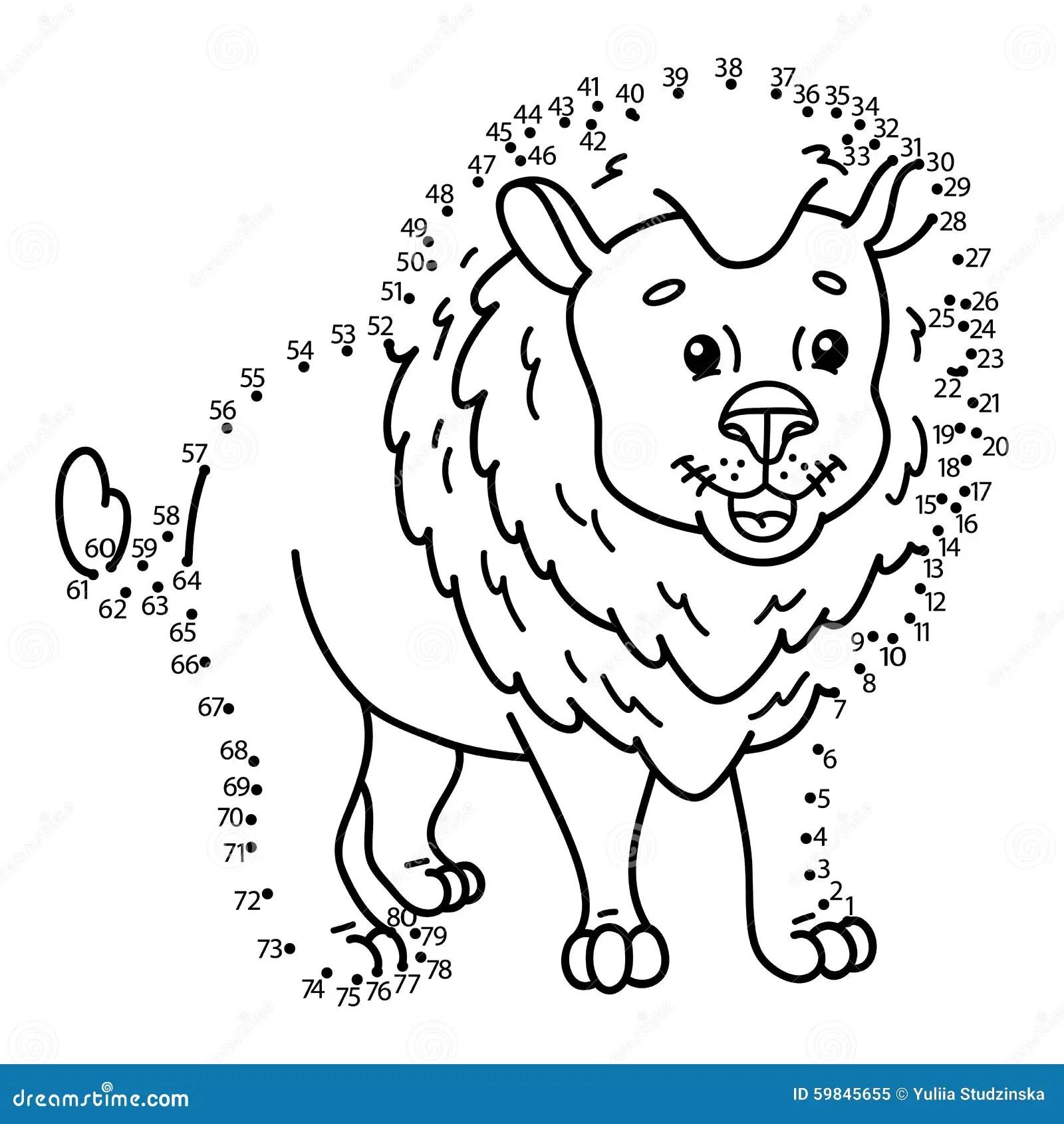 Dot To Dot Lion Game Stock Vector Illustration Of