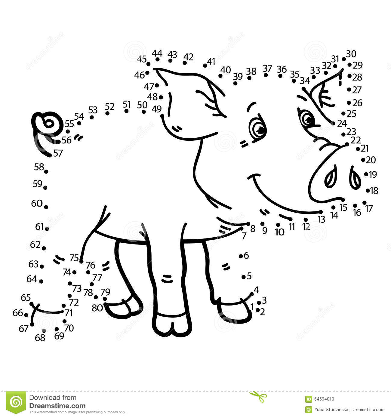 Dot To Dot Pig Game Stock Vector