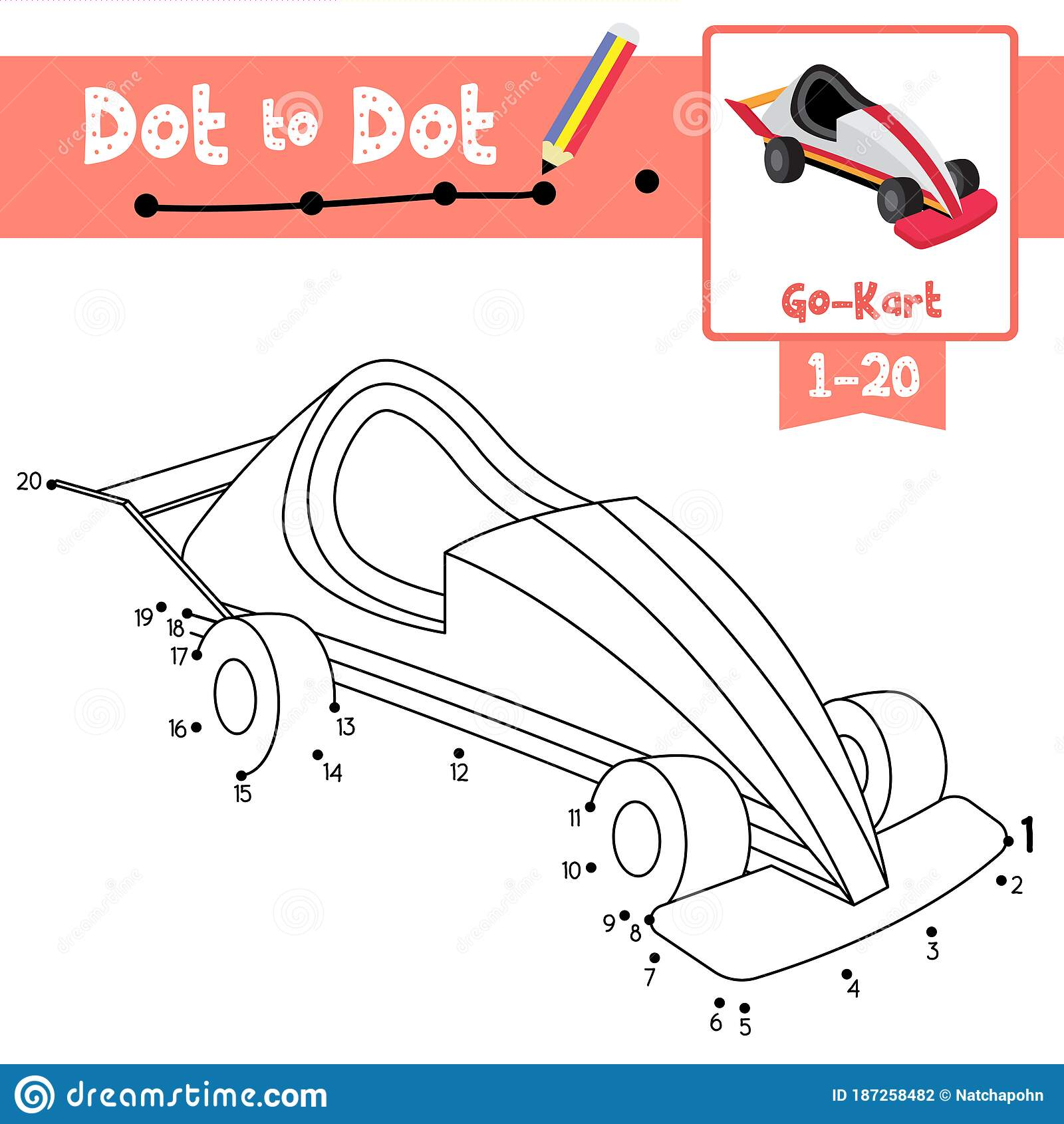 Dot To Dot Educational Game And Coloring Book Go Kart