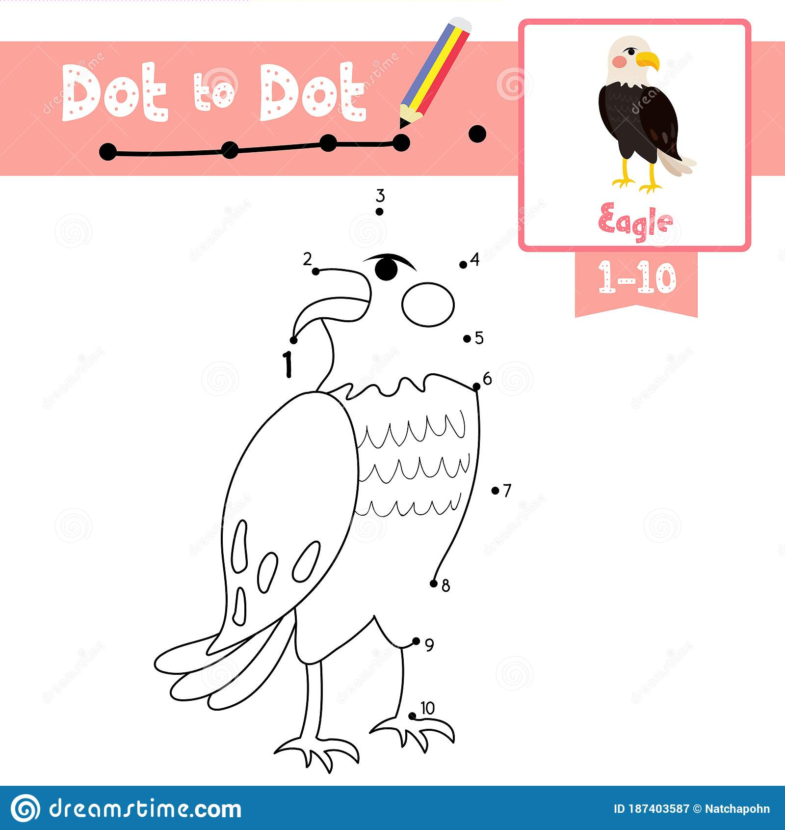 Dot To Dot Educational Game And Coloring Book Standing