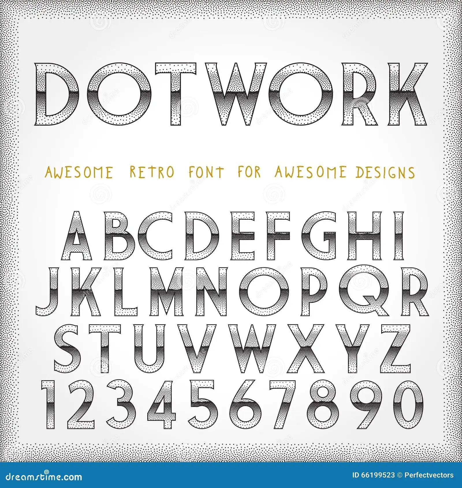 Dot Work Alphabet In 80s Retro Futurism Style Stock Vector